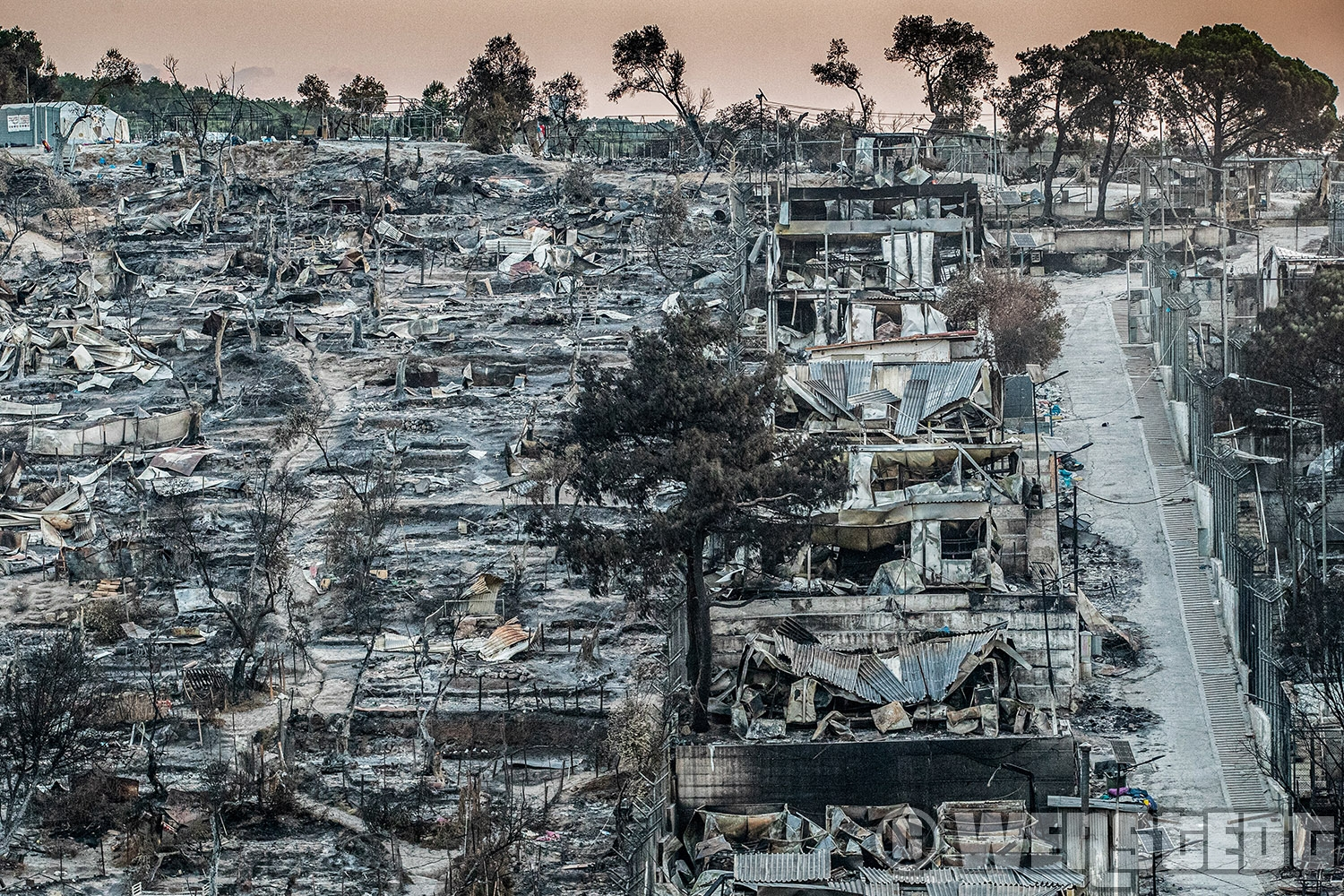 CAMP MOIRA (LESVOS) - Camp Moria was destroyed by fire. After Moria refugee camp completely was destroyed by fire, thousands of refugees are living on the streets of Kara Tepe (Lesvos).